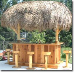You can build this tiki bar and stools with easy to follow plans