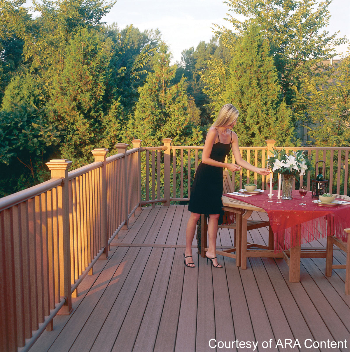 Composite deck with railings
