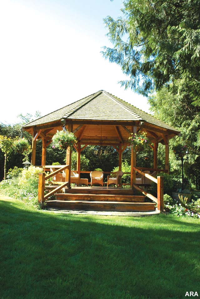 Gazebo on a hill in the sunshine