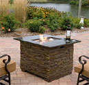 Stay warm sitting around this gas fire bowl table