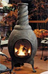 Use this outdoor gas chimenea to heat your patio or deck.