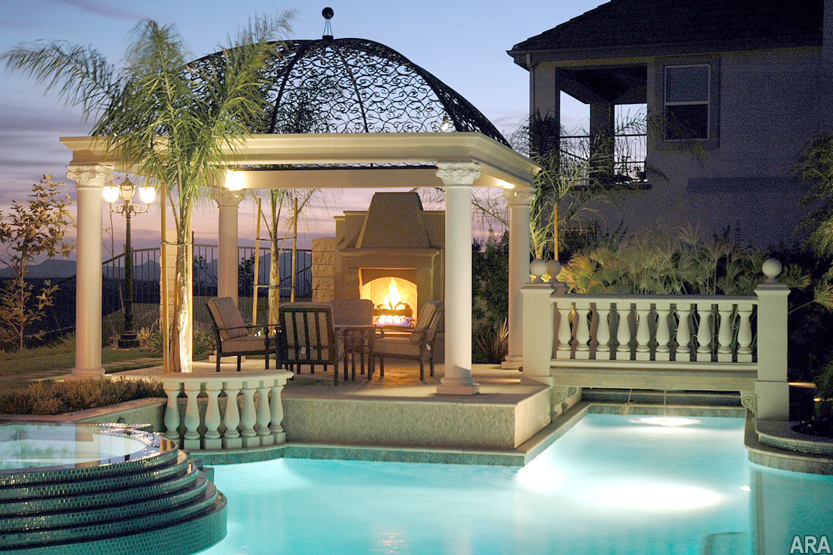 Nice Backyard Patios : patio with a nice view, pool and warm fireplace