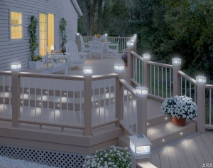 Light up your deck with solar powered cap lights and recessed deck lighting