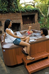 Enjoying the hot tub with friends