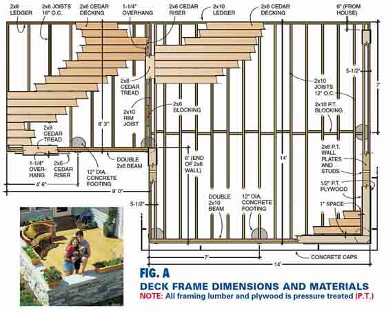 The deck framing plan that is included in the downloadable PDF document