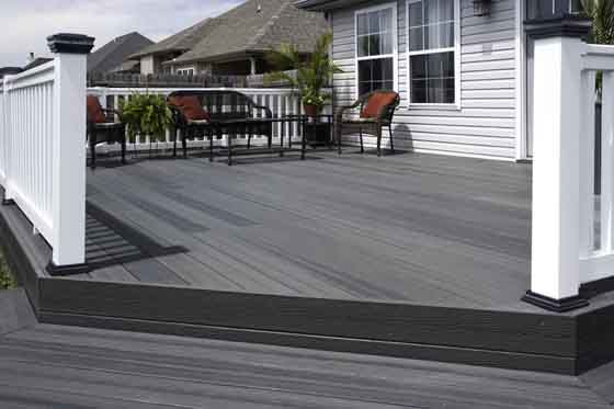 Deck built using composite decking material