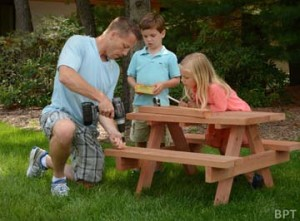 Building a picnic table with your kids Is a great summer project